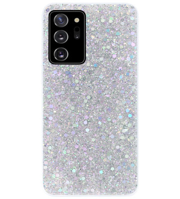 ADEL Premium Siliconen Back Cover Softcase Hoesje voor Samsung Galaxy Note 20 - Bling Bling Glitter Zilver