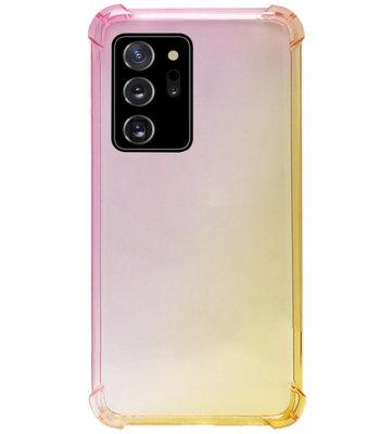 ADEL Siliconen Back Cover Softcase Hoesje voor Samsung Galaxy Note 20 - Kleurovergang Roze Geel