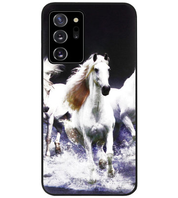 ADEL Siliconen Back Cover Softcase Hoesje voor Samsung Galaxy Note 20 - Paarden Wit