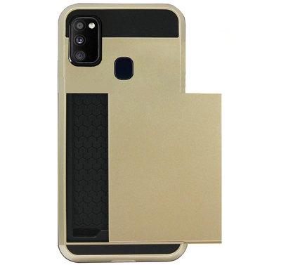 ADEL Kunststof Back Cover Hardcase Hoesje voor Samsung Galaxy M30s/ M21 - Pasjeshouder Goud