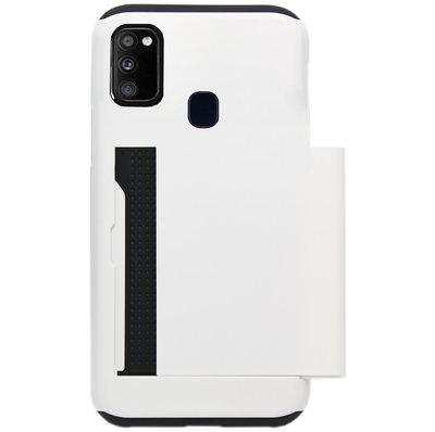 ADEL Kunststof Back Cover Hardcase Hoesje voor Samsung Galaxy M30s/ M21 - Pasjeshouder Wit