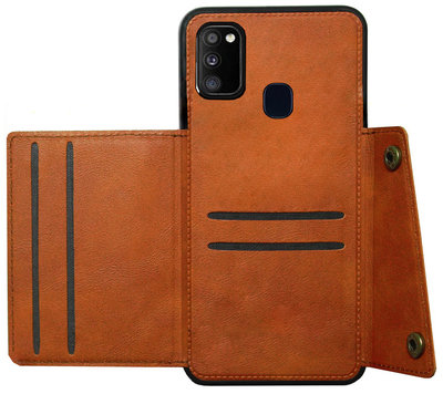 ADEL Kunstleren Back Cover Pasjeshouder Hoesje voor Samsung Galaxy M30s/ M21 - Bruin