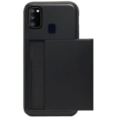 ADEL Kunststof Back Cover Hardcase Hoesje voor Samsung Galaxy M30s/ M21 - Pasjeshouder Zwart