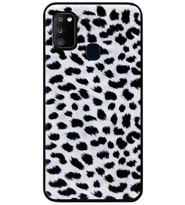 ADEL Siliconen Back Cover Softcase Hoesje voor Samsung Galaxy M30s/ M21 - Luipaard Wit