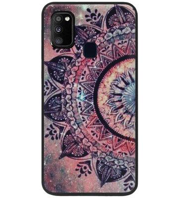 ADEL Siliconen Back Cover Softcase Hoesje voor Samsung Galaxy M30s/ M21 - Mandala Bloemen Rood