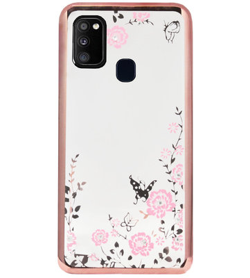 ADEL Siliconen Back Cover Softcase Hoesje voor Samsung Galaxy M30s/ M21 - Glimmend Glitter Vlinder Bloemen Roze
