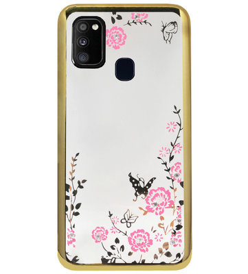 ADEL Siliconen Back Cover Softcase Hoesje voor Samsung Galaxy M30s/ M21 - Glimmend Glitter Vlinder Bloemen Goud