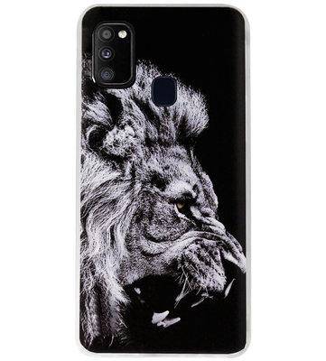 ADEL Siliconen Back Cover Softcase Hoesje voor Samsung Galaxy M30s/ M21 - Leeuw Zwart