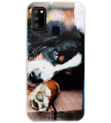 ADEL Siliconen Back Cover Softcase Hoesje voor Samsung Galaxy M30s/ M21 - Berner Sennenhond