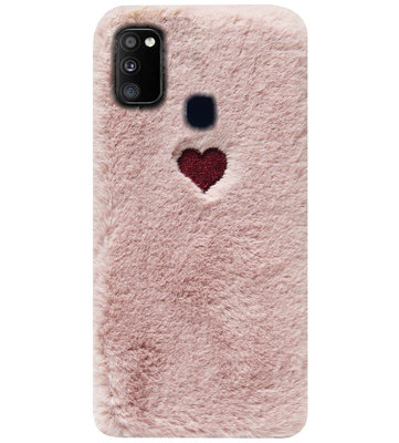 ADEL Siliconen Back Cover Softcase Hoesje voor Samsung Galaxy M30s/ M21 - Hartjes Roze