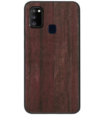 ADEL Siliconen Back Cover Softcase Hoesje voor Samsung Galaxy M30s/ M21 - Hout Design Bruin