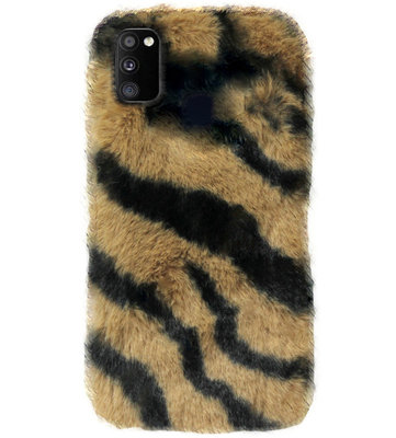 ADEL Siliconen Back Cover Softcase Hoesje voor Samsung Galaxy M30s/ M21 - Luipaard Fluffy Bruin