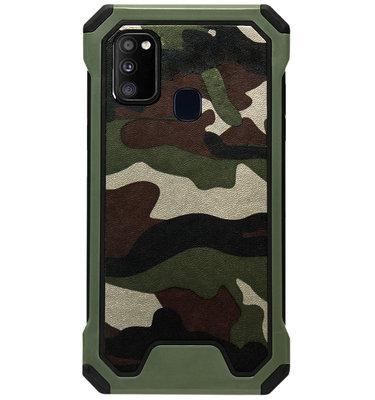 ADEL Kunststof Bumper Case Hoesje voor Samsung Galaxy M30s/ M21 - Camouflage Groen