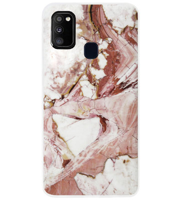 ADEL Siliconen Back Cover Softcase Hoesje voor Samsung Galaxy M30s/ M21 - Marmer Rood