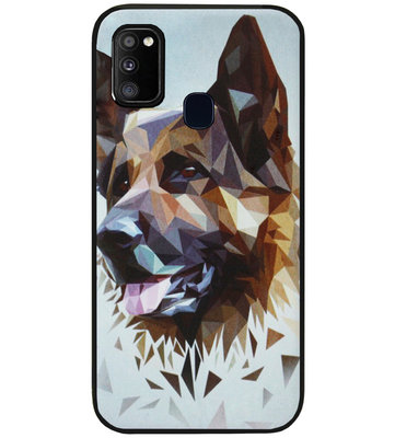 ADEL Siliconen Back Cover Softcase Hoesje voor Samsung Galaxy M30s/ M21 - Duitse Herder Hond