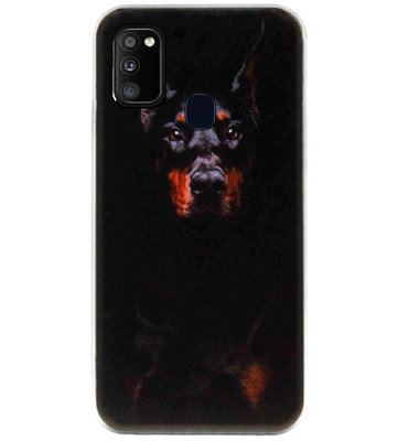 ADEL Siliconen Back Cover Softcase Hoesje voor Samsung Galaxy M30s/ M21 - Dobermann Pinscher Hond