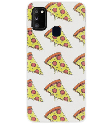 ADEL Siliconen Back Cover Softcase Hoesje voor Samsung Galaxy M30s/ M21 - Junkfood Pizza