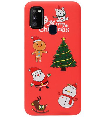 ADEL Siliconen Back Cover Softcase Hoesje voor Samsung Galaxy M30s/ M21 - Kerstmis Rood