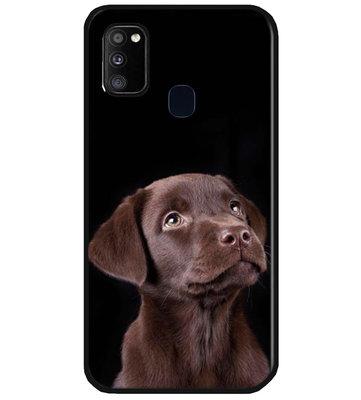 ADEL Siliconen Back Cover Softcase Hoesje voor Samsung Galaxy M30s/ M21 - Labrador Retriever Hond Bruin