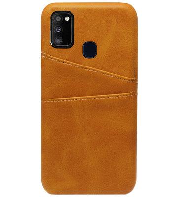 ADEL Kunstleren Back Cover Pasjes Hoesje voor Samsung Galaxy M30s/ M21 - Bruin