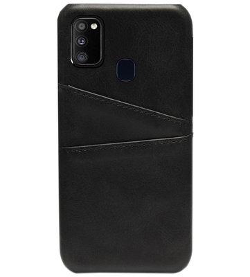 ADEL Kunstleren Back Cover Pasjes Hoesje voor Samsung Galaxy M30s/ M21 - Zwart