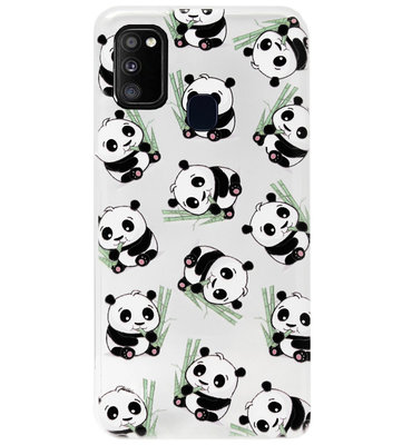 ADEL Siliconen Back Cover Softcase Hoesje voor Samsung Galaxy M30s/ M21 - Panda Liggend