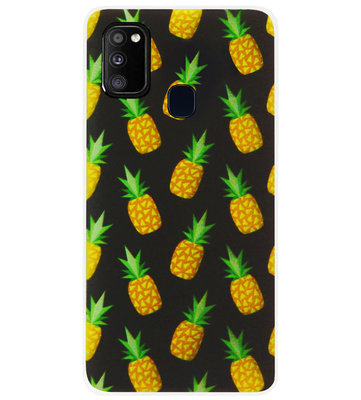 ADEL Siliconen Back Cover Softcase Hoesje voor Samsung Galaxy M30s/ M21 - Ananas