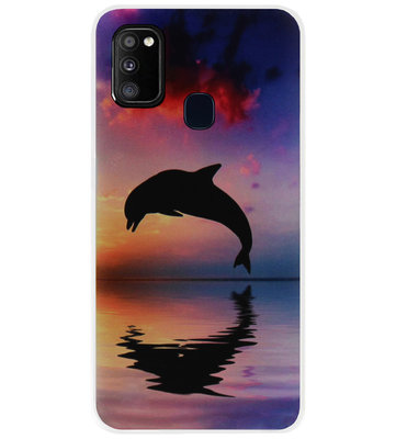 ADEL Kunststof Back Cover Hardcase Hoesje voor Samsung Galaxy M30s/ M21 - Dolfijn