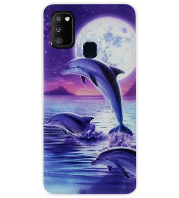 ADEL Kunststof Back Cover Hardcase Hoesje voor Samsung Galaxy M30s/ M21 - Dolfijn Blauw