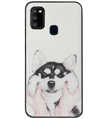ADEL Siliconen Back Cover Softcase Hoesje voor Samsung Galaxy M30s/ M21 - Husky Hond
