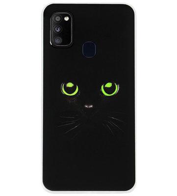 ADEL Siliconen Back Cover Softcase Hoesje voor Samsung Galaxy M30s/ M21 - Katten Zwart Groene Ogen