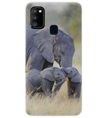 ADEL Siliconen Back Cover Softcase Hoesje voor Samsung Galaxy M30s/ M21 - Olifant Familie