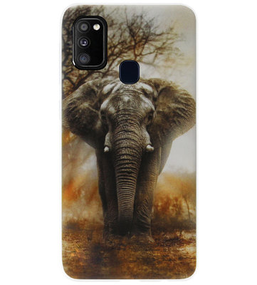 ADEL Siliconen Back Cover Softcase Hoesje voor Samsung Galaxy M30s/ M21 - Olifanten