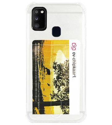 ADEL Siliconen Back Cover Softcase Hoesje voor Samsung Galaxy M30s/ M21 - Pasjeshouder Doorzichtig