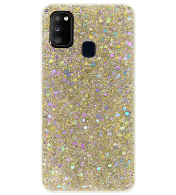 ADEL Premium Siliconen Back Cover Softcase Hoesje voor Samsung Galaxy M30s/ M21 - Bling Bling Glitter Goud