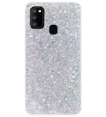 ADEL Premium Siliconen Back Cover Softcase Hoesje voor Samsung Galaxy M30s/ M21 - Bling Bling Glitter Zilver