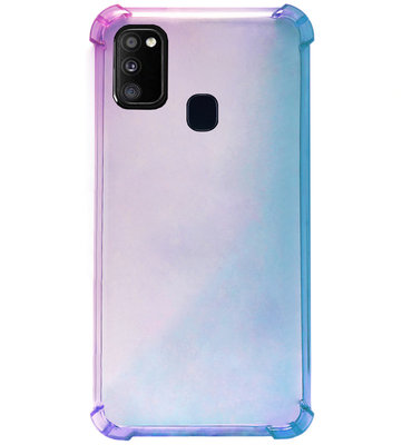 ADEL Siliconen Back Cover Softcase Hoesje voor Samsung Galaxy M30s/ M21 - Kleurovergang Blauw Paars