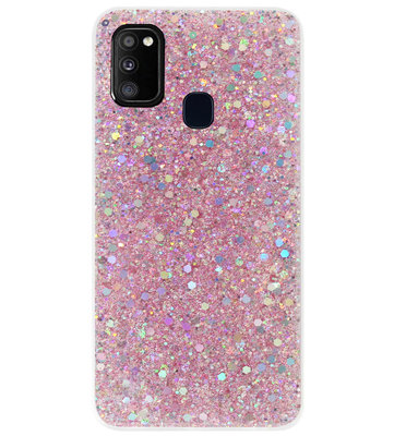ADEL Premium Siliconen Back Cover Softcase Hoesje voor Samsung Galaxy M30s/ M21 - Bling Bling Roze