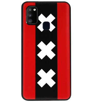 ADEL Siliconen Back Cover Softcase Hoesje voor Samsung Galaxy M30s/ M21 - Amsterdam Andreaskruisen