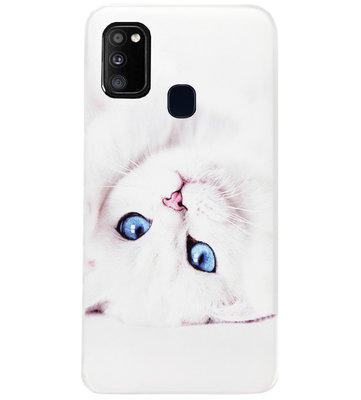 ADEL Siliconen Back Cover Softcase Hoesje voor Samsung Galaxy M30s/ M21 - Katten