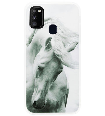 ADEL Siliconen Back Cover Softcase Hoesje voor Samsung Galaxy M30s/ M21 - Paarden
