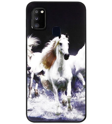 ADEL Siliconen Back Cover Softcase Hoesje voor Samsung Galaxy M30s/ M21 - Paarden Wit