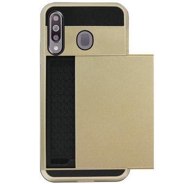 ADEL Kunststof Back Cover Hardcase Hoesje voor Samsung Galaxy M30 - Pasjeshouder Goud