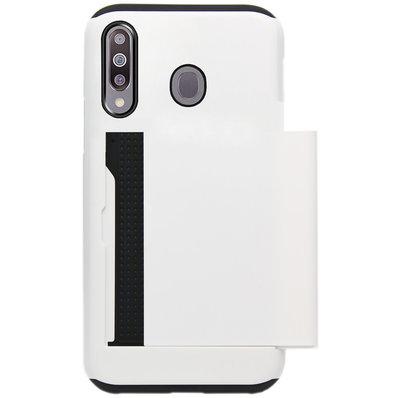 ADEL Kunststof Back Cover Hardcase Hoesje voor Samsung Galaxy M30 - Pasjeshouder Wit