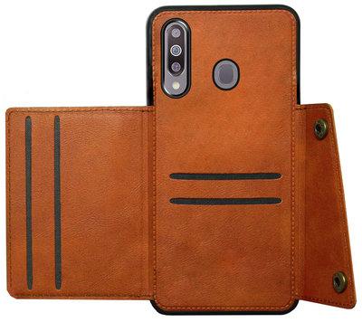 ADEL Kunstleren Back Cover Pasjeshouder Hoesje voor Samsung Galaxy M30 - Bruin