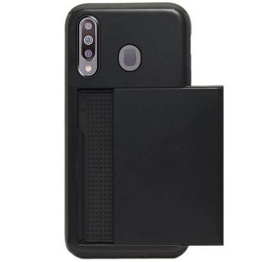 ADEL Kunststof Back Cover Hardcase Hoesje voor Samsung Galaxy M30 - Pasjeshouder Zwart