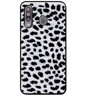 ADEL Siliconen Back Cover Softcase Hoesje voor Samsung Galaxy M30 - Luipaard Wit