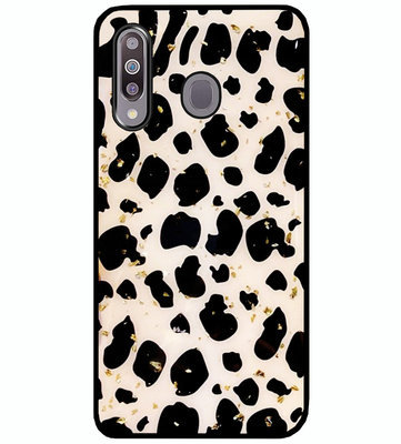 ADEL Siliconen Back Cover Softcase Hoesje voor Samsung Galaxy M30 - Luipaard Bling Glitter