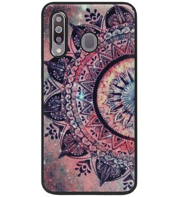 ADEL Siliconen Back Cover Softcase Hoesje voor Samsung Galaxy M30 - Mandala Bloemen Rood