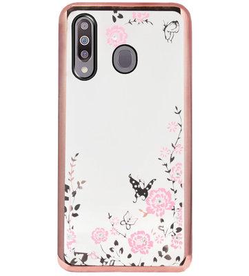 ADEL Siliconen Back Cover Softcase Hoesje voor Samsung Galaxy M30 - Glimmend Glitter Vlinder Bloemen Roze